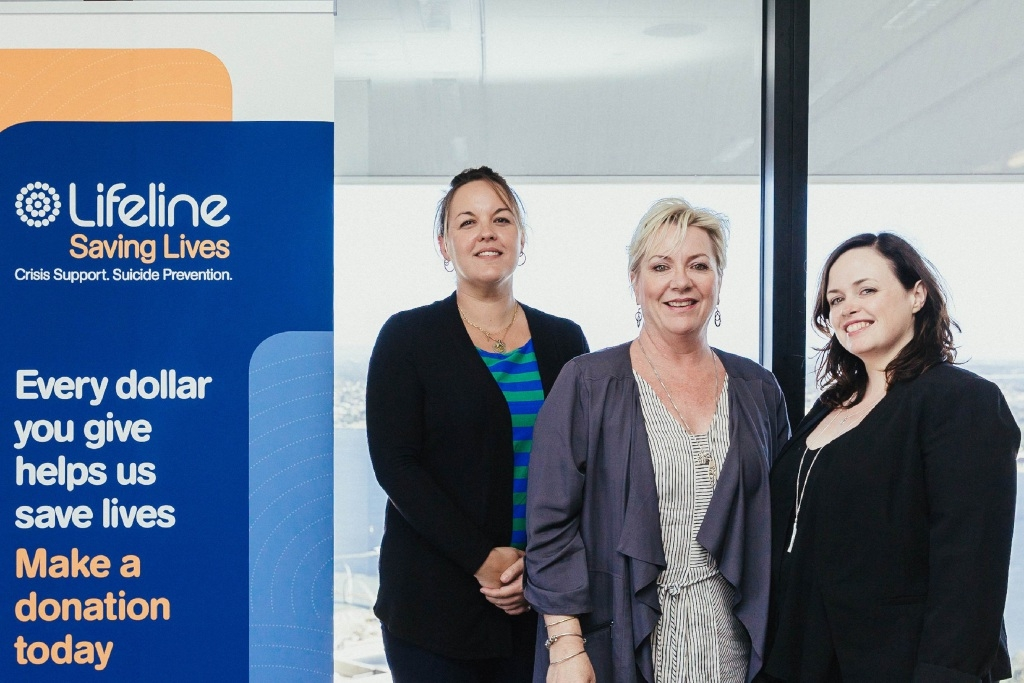 Lifeline WA financial counsellor Katrina King, counselling co-ordinator Rita Iagoe and counsellor Laura Fitzgerald.
