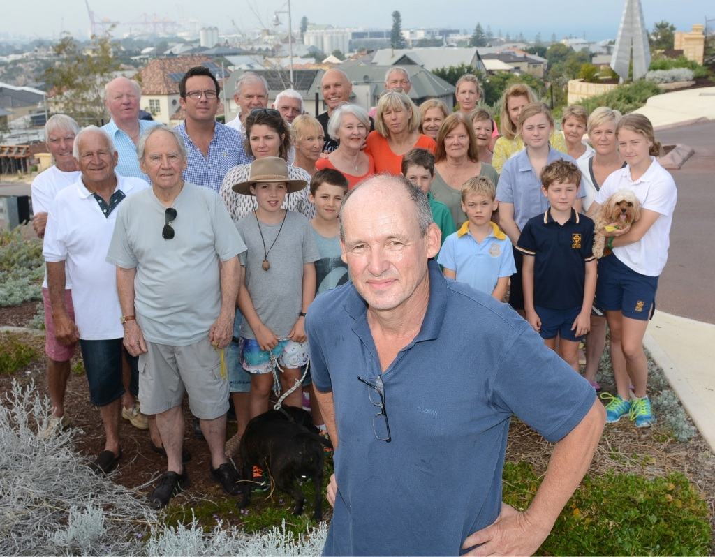 North Fremantle residents Richard Jamieson, Richard Elsey, Brigitte Cronan, Robin Fordham, Phil Hammond and Richard Fordham want to jump into Mosman Park.         Picture: Jon Bassett