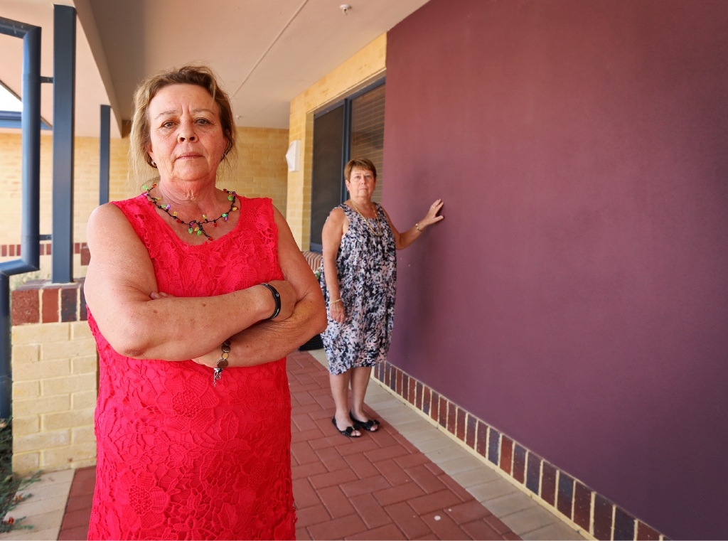 Bare walls: Joanne Nouwland and Jayne O'Sullivan, from the MS Society, are heartbroken that art  has been stolen. Picture: Matt Jelonek           d447324