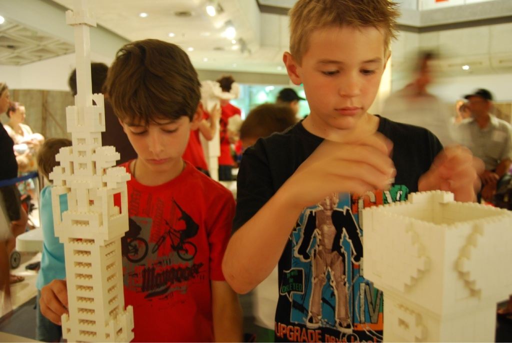 Totally engrossed: Two boys play with Lego at the Art Gallery.