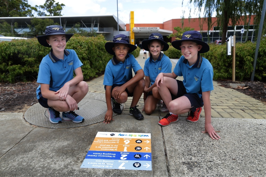 Madeley Primary School Year 6 students Steph Lee, Nyle Weale, Lauren Cangemi and Blake Etheridge follow Your Move path labels in Wanneroo. Picture: Martin Kennealey d447573