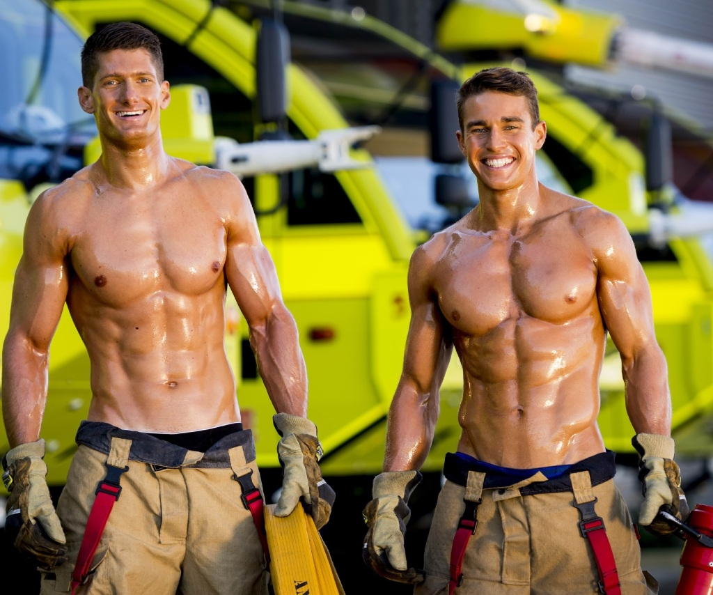 South Perth firefighter Greg Moulton (left) with colleague Pat posing for the charity |calendar.