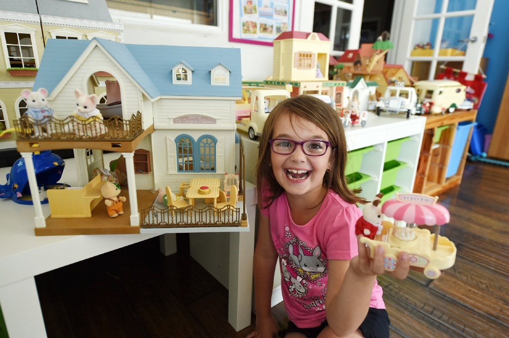 Child's play and beyond: Atwell girl Kate Stevens, with a collection of 200 pieces, is one of Australia's biggest Sylvanian Families fans. Picture: Jon Hewson www.communitypix.com.au   d447367