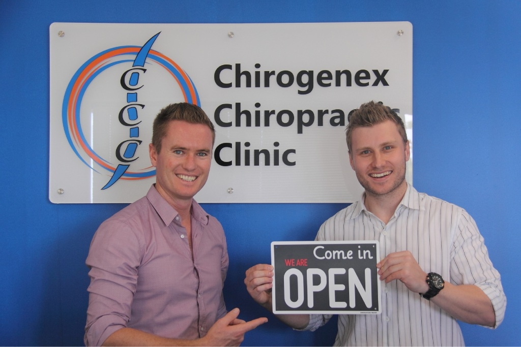Ocean Reef MLA Albert Jacob and Jono Dalla Pria.A CURRAMBINE resident has opened his first chiropractic clinic in Currambine Central shopping centre.
