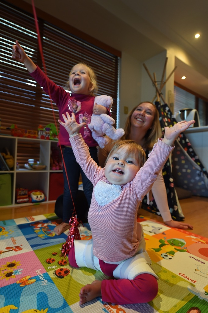 SarahTwomey with daughters Eve (3) and Maya (14 months). Picture: Jon Hewson
