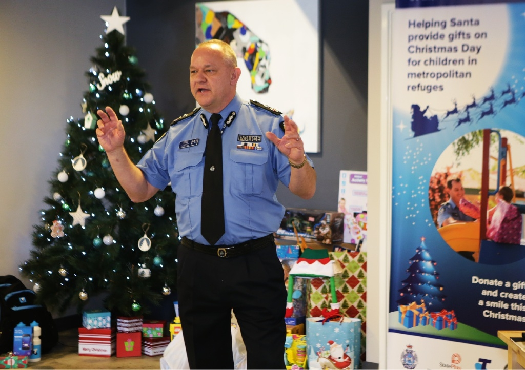Assistant Commissioner Stephen Brown at the launch of Operation Blue Santa last month.
