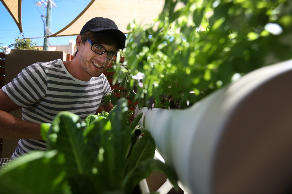 Korum Ellis says his micro-farm helped him through depression and he hopes it can also help others.  Picture: Andrew Ritchie www.communitypix.com.au   d447838