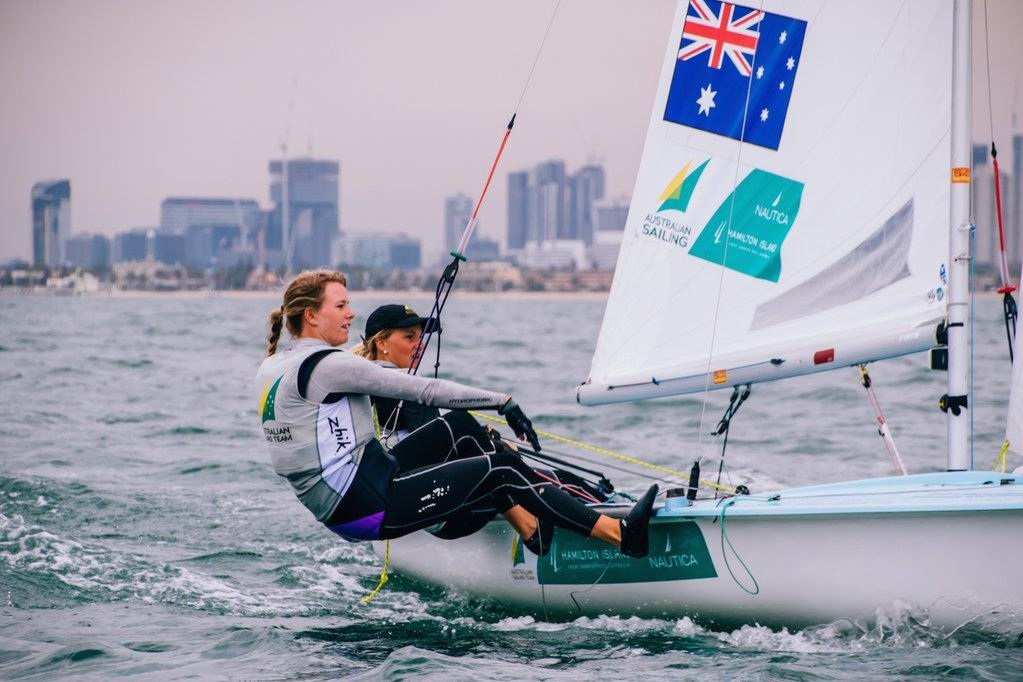 Carrie Smith and Jaime Ryan at the 2015 Australian 470 National Championships.