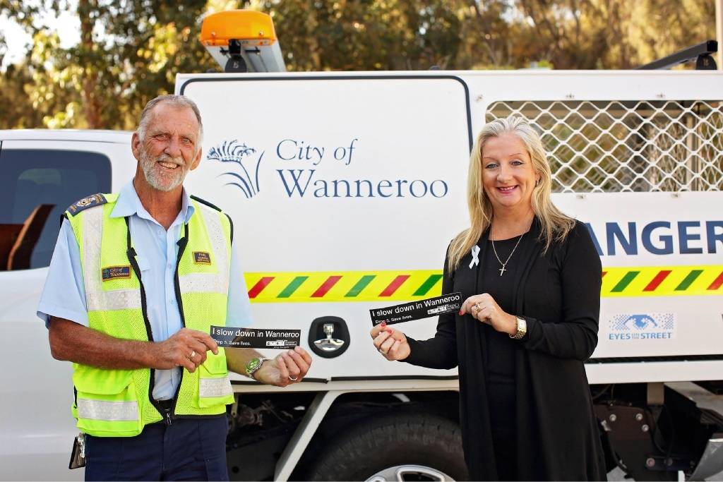 City of Wanneroo senior ranger Phil Avery with Mayor Tracey Roberts.