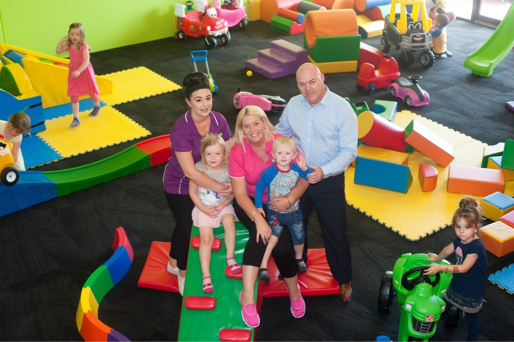 Pauline and Robert Rumley with Jaymee, Scott and Ellie (4) and Bobby (2). Picture: Labyrinth Art Photography