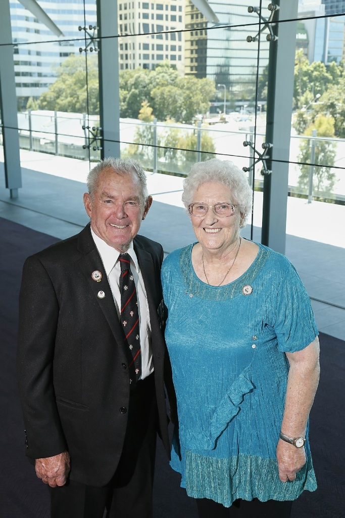 Betty Hislop  is still actively involved in the game of darts. Picture: Jon Hewson |www.communitypix.com.au   d447815Betty Hislop with St John Ambulance volunteer John Ree.