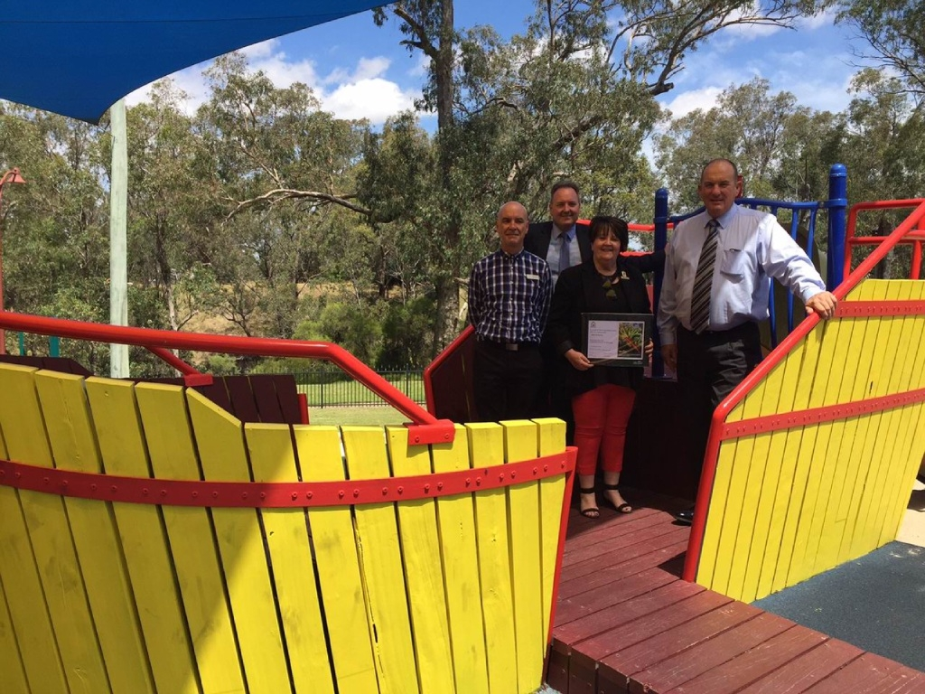 Grant Bilton, Shire of Murray chief executive Dean Unsworth, Shire of Murray President Marie Reid and Murray MLA Murray Cowper aboard the colourful boat in Cantwell Park.