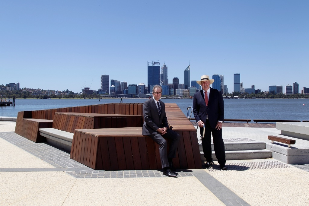 City of South Perth chief executive Geoff Glass and John McGrath, MLA for South Perth, pictured with the new structure at the South Perth foreshore.  Picture: Marie Nirme    d447634