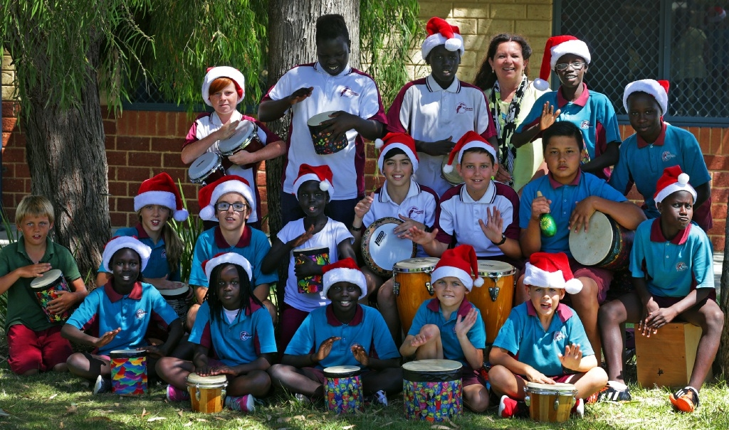 Teacher Sue Waterhouse with school drummers.        www.communitypix.com.au   d447880