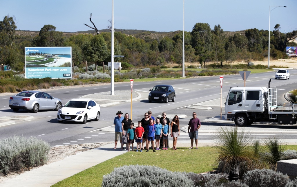 Local residents at the junction of Marmion Avenue and Shorehaven Boulevard,  which they say needs to be made safer.   Picture: Martin Kennealey www.communitypix.com.au   d447633