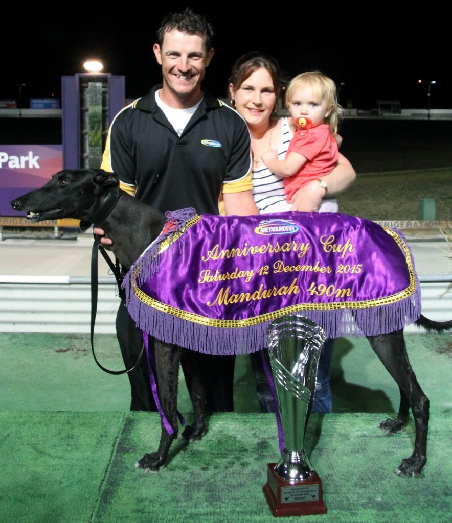 Winner all the way: Tureaud with trainer Paul Stuart, Adele Hobby and her niece.