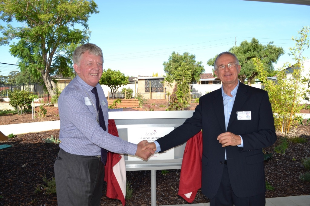 Uniting Church WA moderator Steve Francis with Juniper board |chairman Fred Boshart at the opening of the garden.