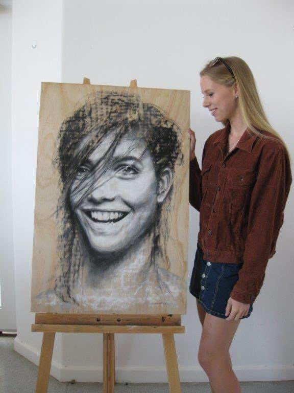 Darlington Arts Festival's Youth Art |winner Eleisha Pirouet with her portrait.