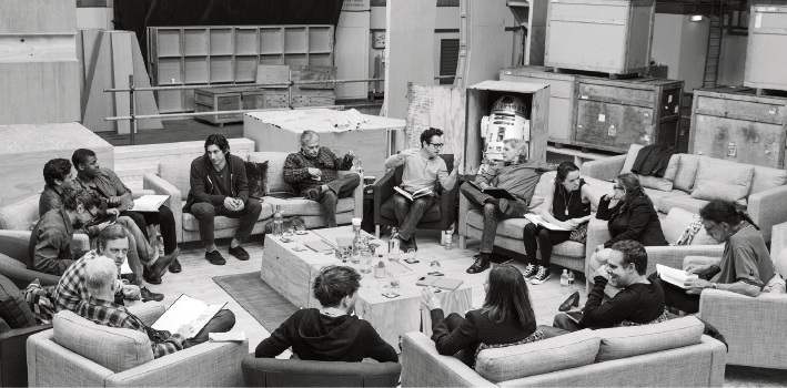 The cast of Star Wars: The Force Awakens do a table read of the script before filming commenced.