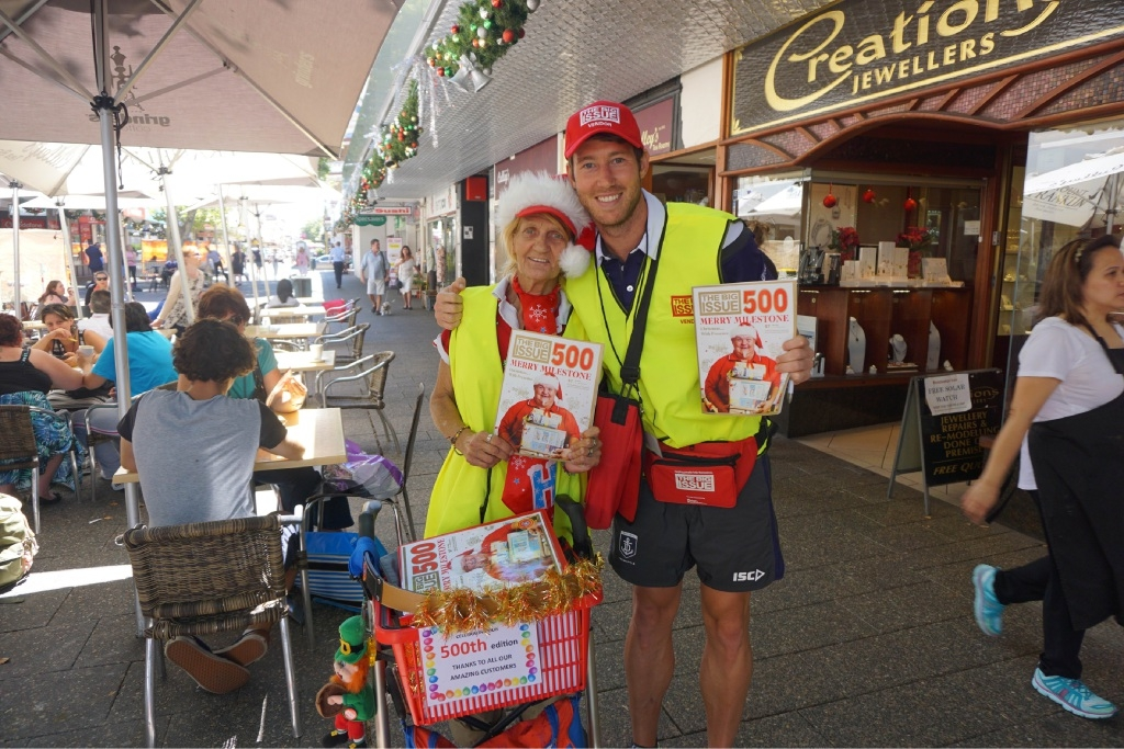 The Big Issue vendor Kim with Fremantle Docker Lee Spurr. Picture: Fremantle Dockers