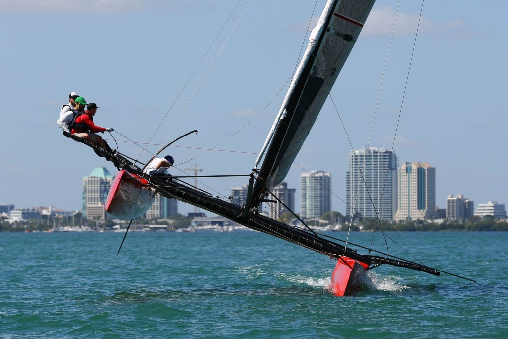 Sailors on an M32 high-performance catamaran, which will compete at Bathers Beach.
