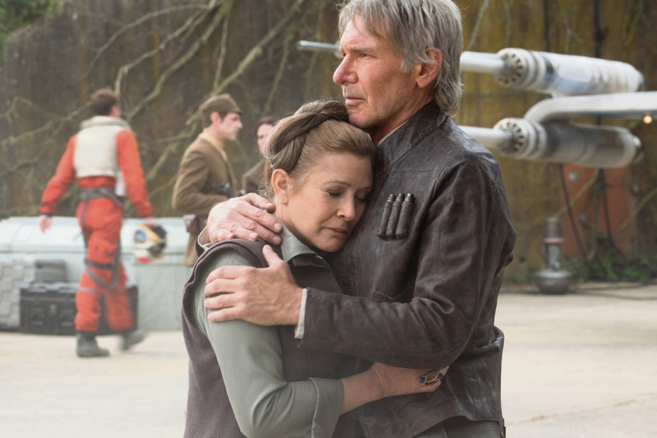 Leia (Carrie Fisher) and Han Solo (Harrison Ford) in Star Wars: The Force Awakens.