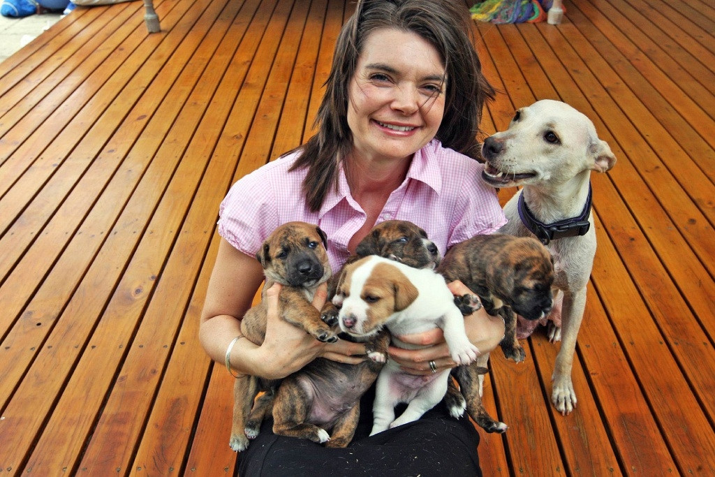 Ruth Simpson with foster dog Holly and her litter of pups.
