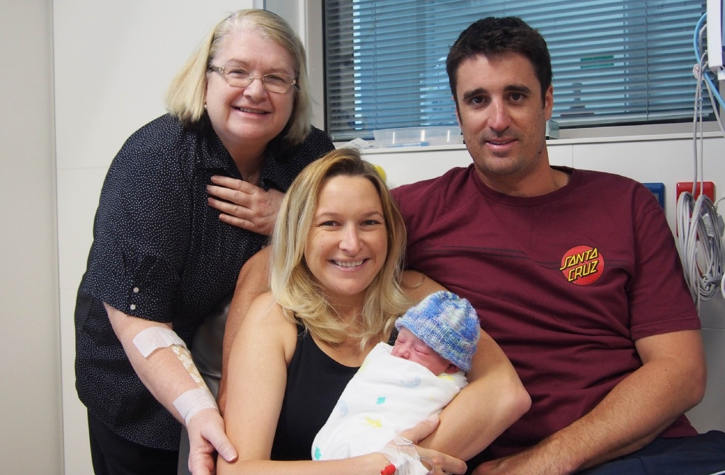 SJG Midland Public Hospital midwifery manager Julie Rakic with Meghan, Oscar and Ben Levett of Glen Forrest.