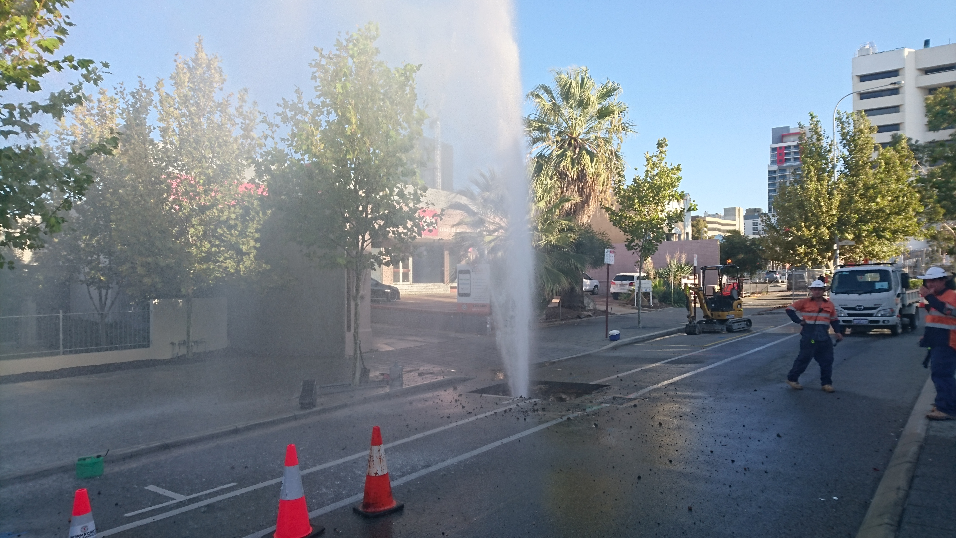 The burst water pipe on Stirling Street in Perth. Picture: Greig Johnston.