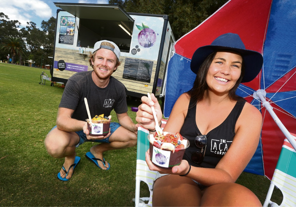 Andrew Moyes and Maddie Russell  at The Acai Corner. Picture: Matt Jelonek           d467133