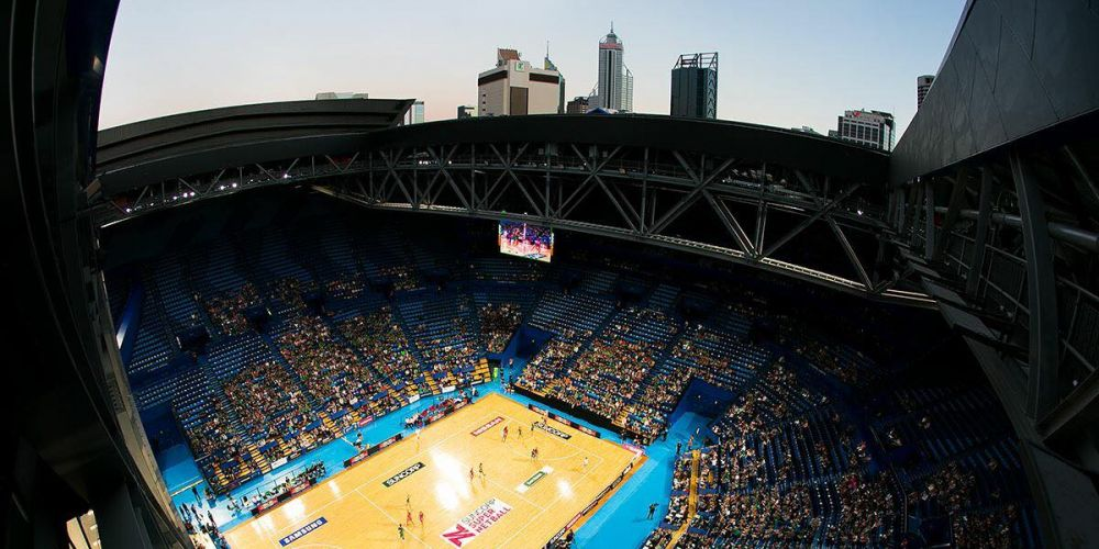 West Coast Fever played Adelaide Thunderbirds at Perth Arena with the roof open last season. Picture: Perth Arena/Facebook