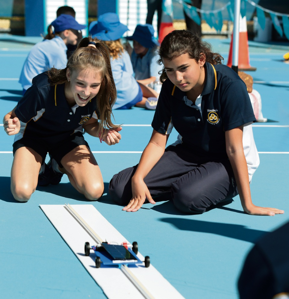 Woodvale Secondary College Year 8 students Bianca Nisay and Leila Le Mat. Picture: Martin Kennealey d467494