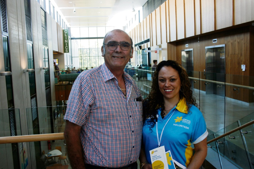 Cancer patient Steve Toon with Cancer Council volunteer Mercy Ruka.
