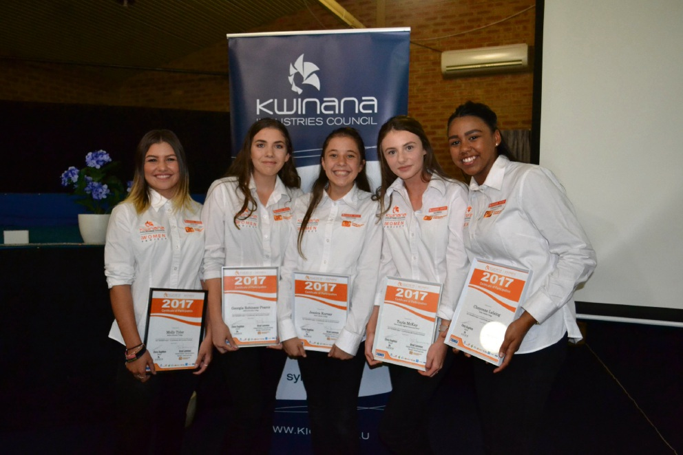 Molly Tyler  (Baldivis Secondary College), Georgia Robinson-Pearce (Baldivis Secondary College), Jessica Kursar (Kolbe Catholic College), Tayla McKay (Peter Carnley Anglican Community School) and Cheyenne Lalsing  (Kolbe Catholic College).