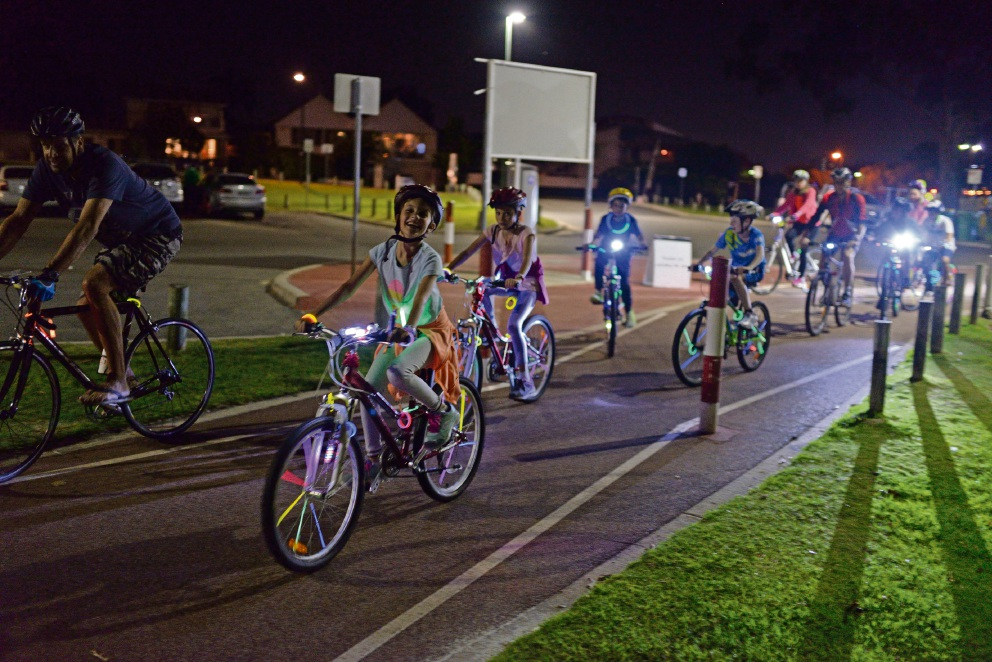 The City of Melville's inaugural GLOW Riding event lit up Deep Water Point foreshore last month.