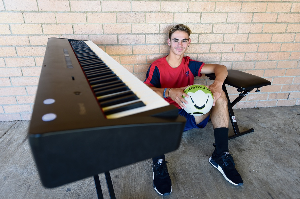 Rockingham soccer player Bailey O?Donnell busking to fund his European dream