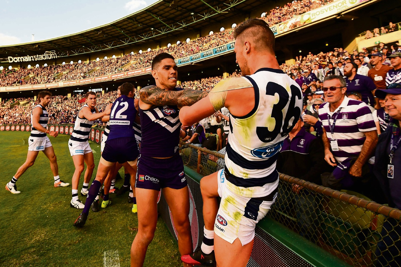 Fremantle's Michael Walters tussles with Geelong's Tom Ruggles during their round 1 clash at Subiaco Oval on Sunday. Photo by Daniel Carson/AFL Media/Getty Images