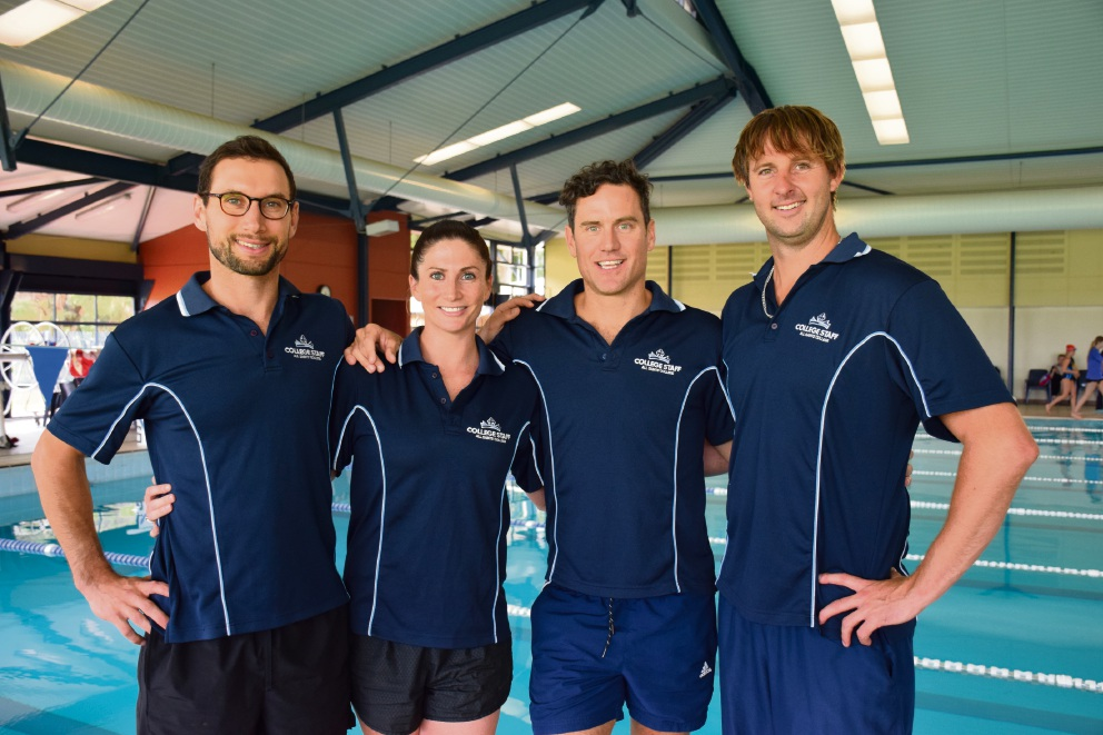 All Saints' College teachers Damien Stevens, Britt Gray, Mitch Jamieson and Russ Haxby will compete in the Rottnest Channel Swim on Saturday.