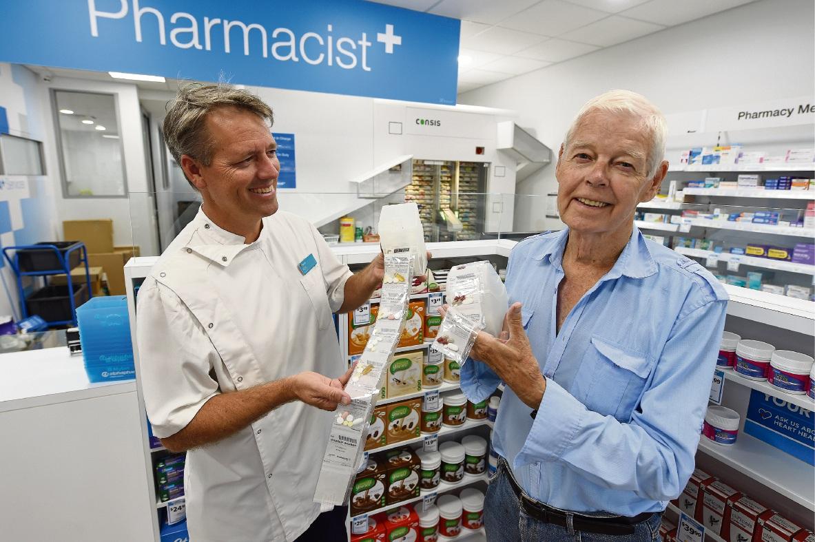 Pharmacist Kim Dethlefsen and resident Robert O'Bray. Picture: Jon Hewson