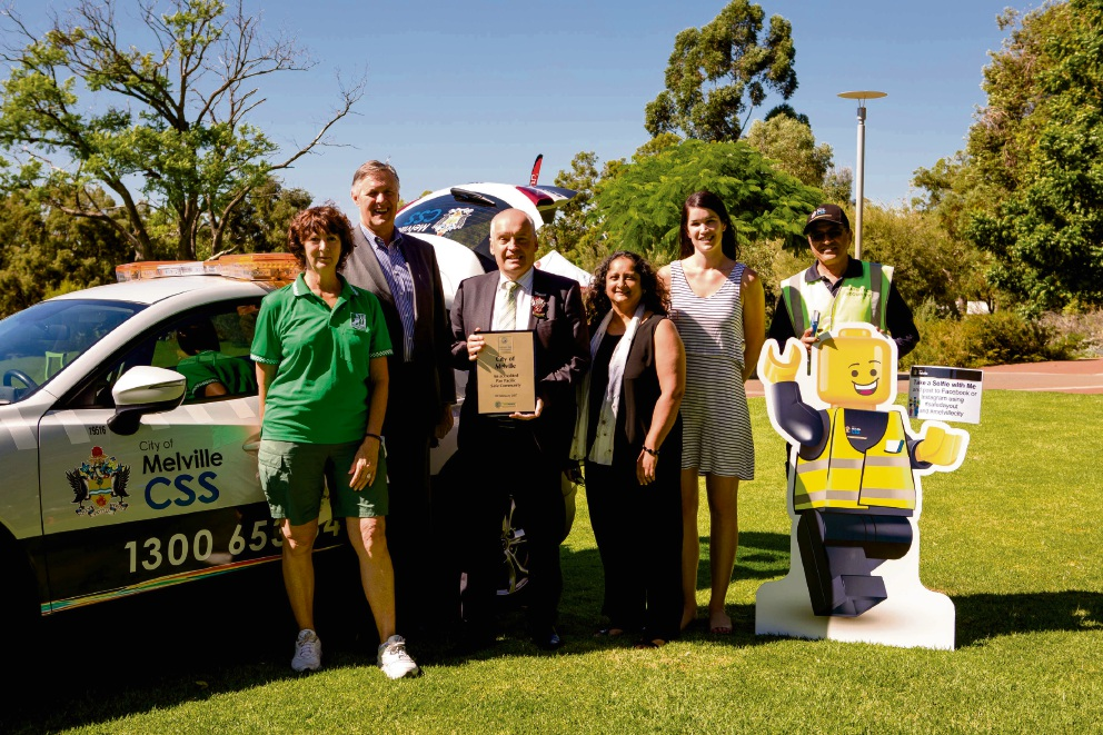 Neighbourhood Watch member Cheryl Kennedy, Safer Melville Advisory Committee chair Cameron Schuster, Melville Mayor Russell Aubrey, Australian Safe Communities Chair Deborah Costello, Injury Control Council of WA member Alyson Elari and Community Safety Service officer Pawan Tiwari.