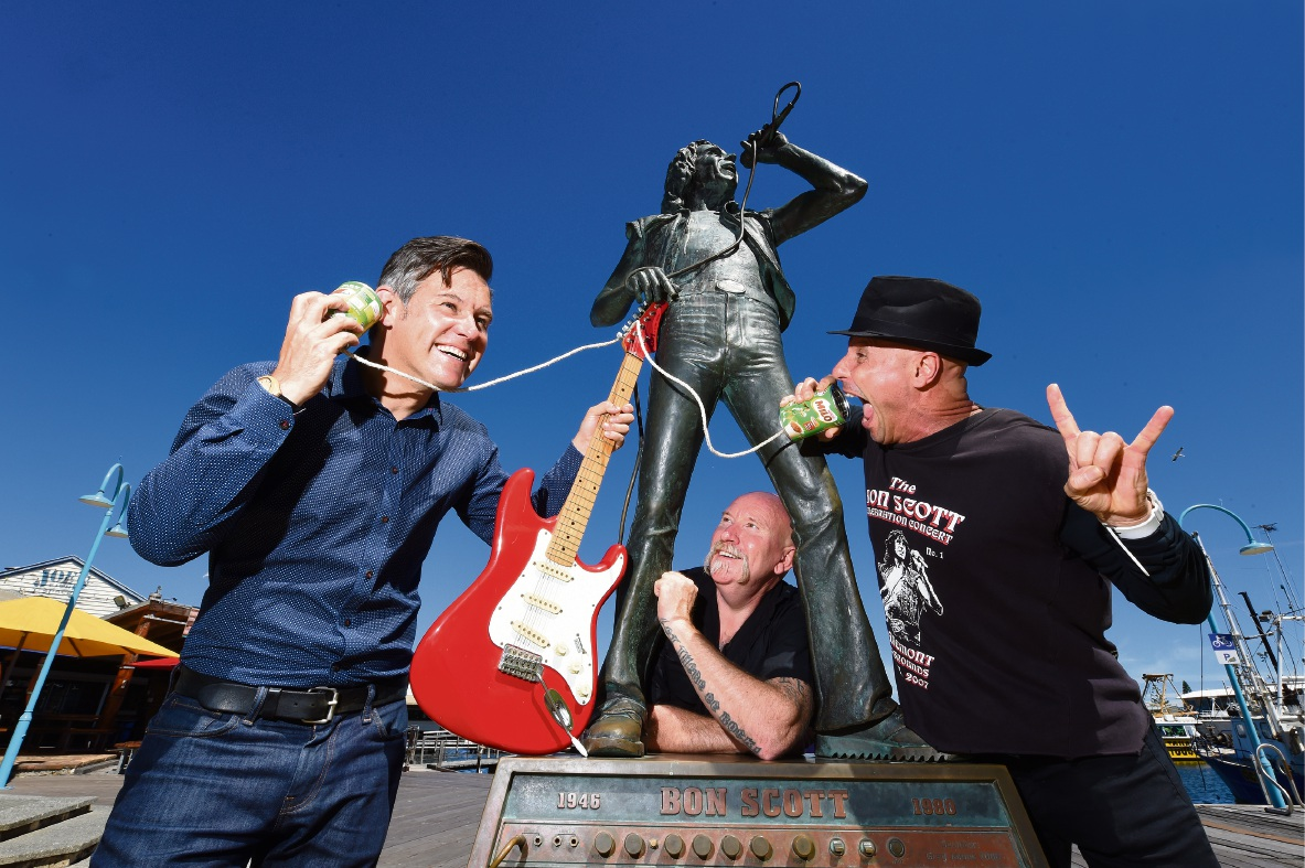 Fremantle and Kirriemuir, a small town in Scotland, could set up a live stream connection between their respective Bon Scott statues