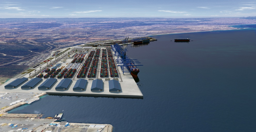 A concept of the Indian Ocean Gateway port at Kwinana.