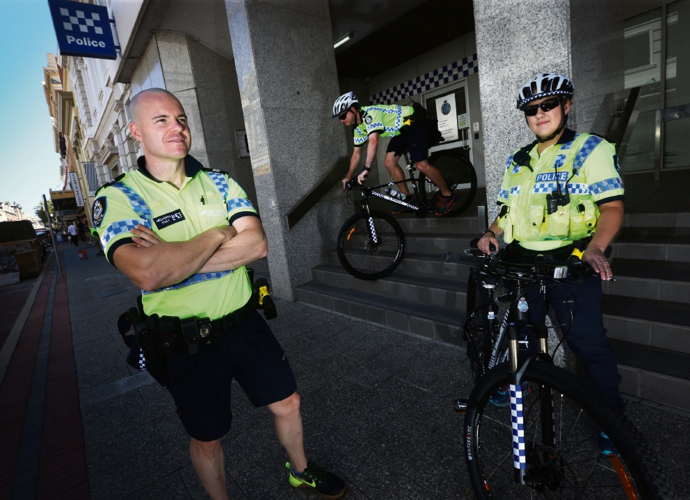 Senior Constable Meszaros with first Class Constable Markham and PC Sanders believe in the efficacy of bike patrols.   Matt Jelonek  d465989