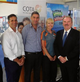 Warnbro MLA Paul Papalia, Belgravia Leisure state manager Rohan Gunton, lead instructor Jodie Moore and Rockingham Mayor Barry Sammels at Aqua Jetty.