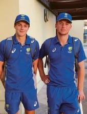 Jordan Clark (left) and Damien Burrage are representing Australia at the Under 16s international tournament in Dubai.