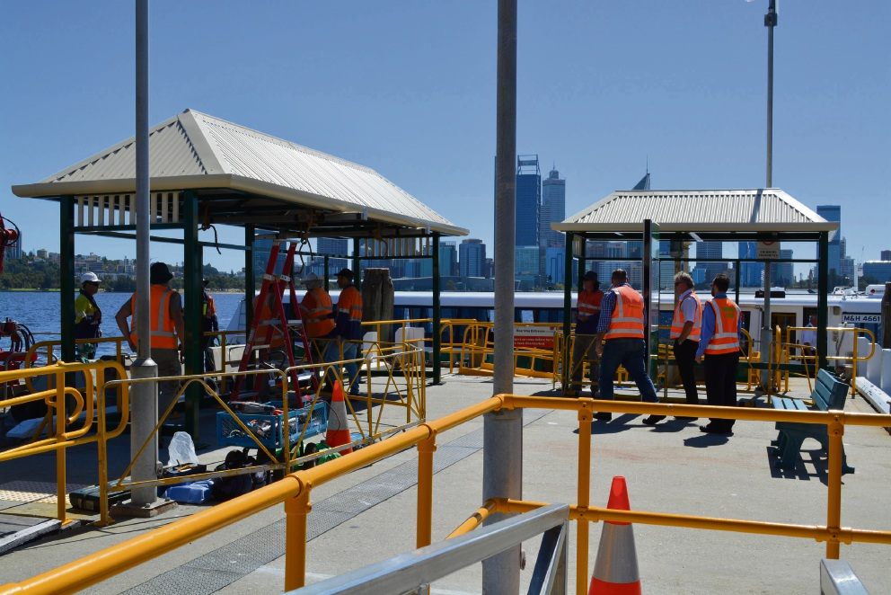 The new shelters at the Transperth ferry jetty in South Perth.
