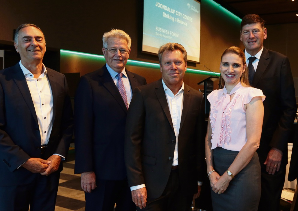 Primewest director David Schwartz, City of Joondalup CEO Garry Hunt, property analyst Gavin Hegney, Lakeside Joondalup Shopping City centre manager Gemma Hannigan and LandCorp's John Hackett. Below: Damian Stone. Pictures: Martin Kennealey        www.communitypix.com.au   d467662