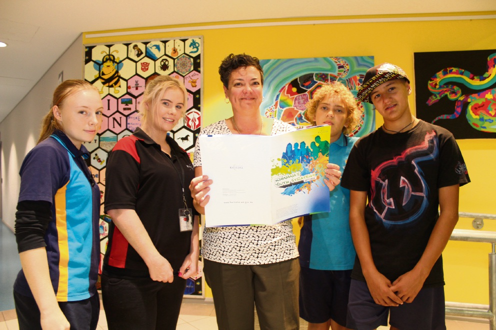 Elaine Degroot, Pippa Pursell, City of Kwinana youth development manager Vikki Barlow, Joseph Buswell and Yyrone Gulliver with the youth strategy.