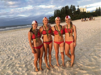 Gabrielle Murphy, Holly Noack, Brittany Houghton and Alysse Priddis won bronze in the women's beach relay at the Australian Surf Lifesaving Championships.