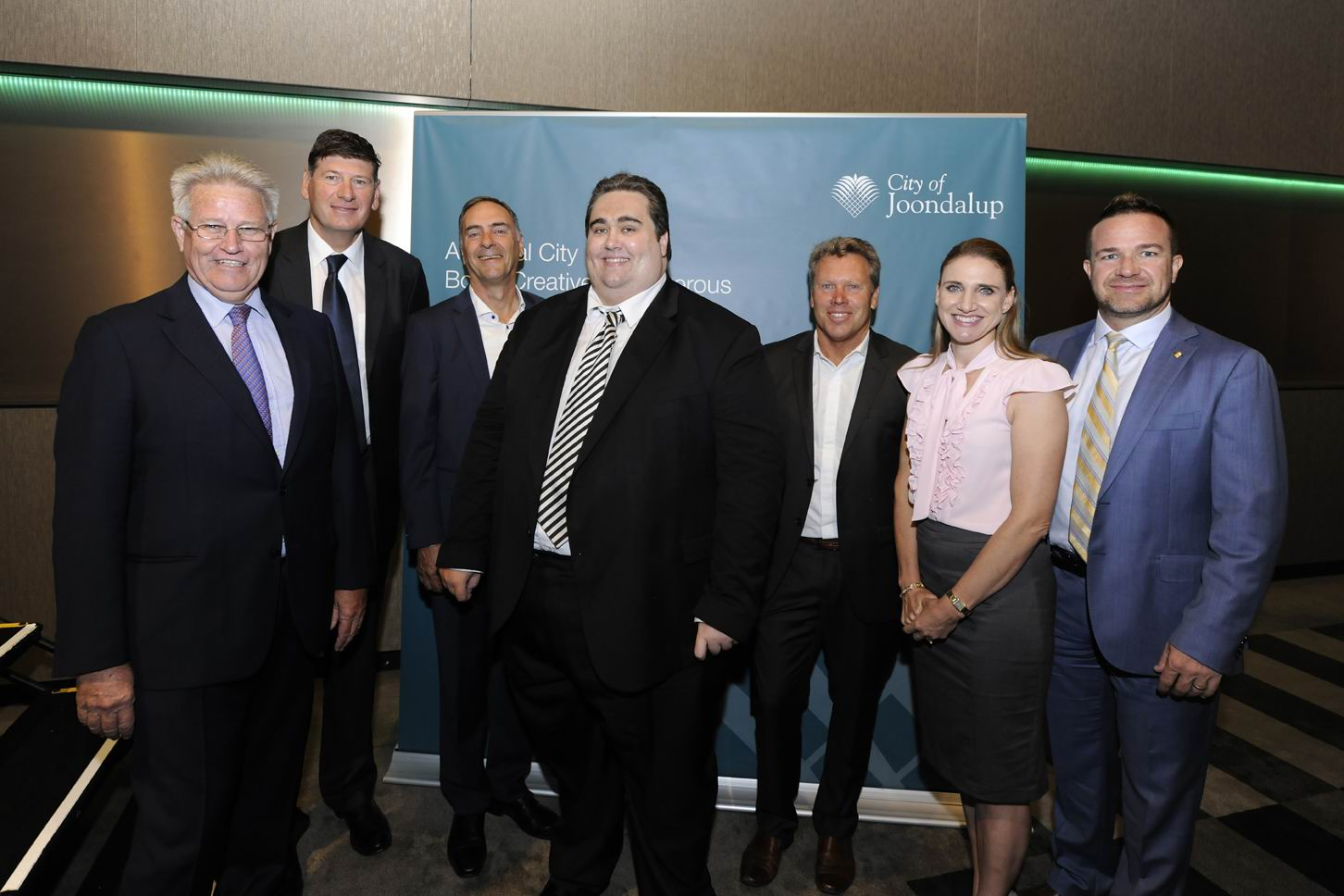 Joondalup CEO Garry Hunt, LandCorp metropolitan and industrial general manager John Hackett, Primewest director David Schwartz, Y-Research principal and chief problem solver Damian Stone, property analyst and commentator Gavin Hegney, Lakeside Joondalup Shopping City centre manager Gemma Hannigan and Joondalup Mayor Troy Pickard. Picture: Chris Kershaw